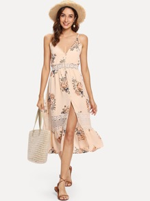 Lace Panel Florals Cami Dress