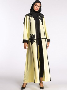 Front Open Contrast Mesh Abaya