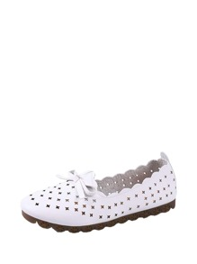 Laser Cut Scalloped Trim Ballet Flats