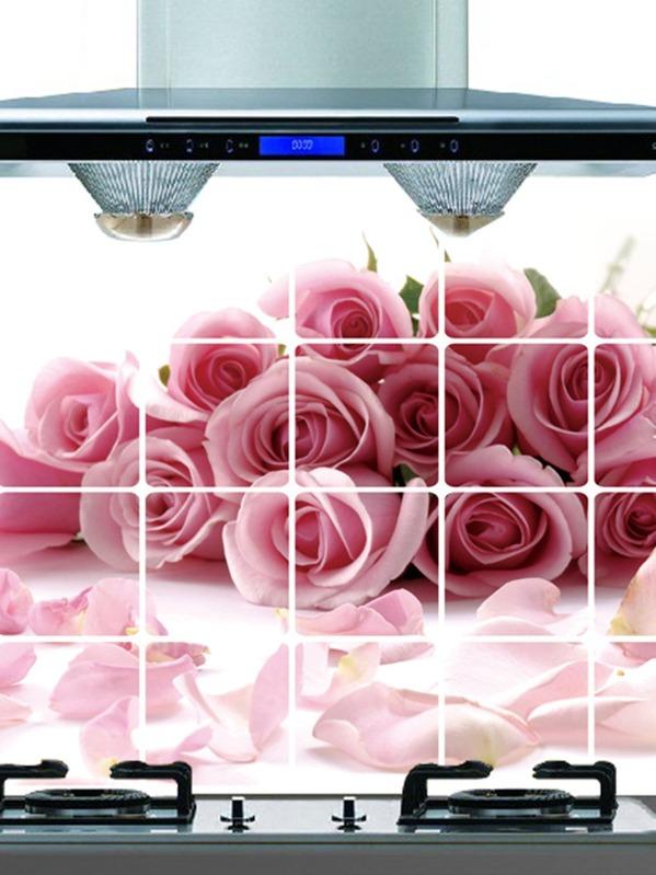 Autocollant Mural Anti Huile à Motif Floral Shein