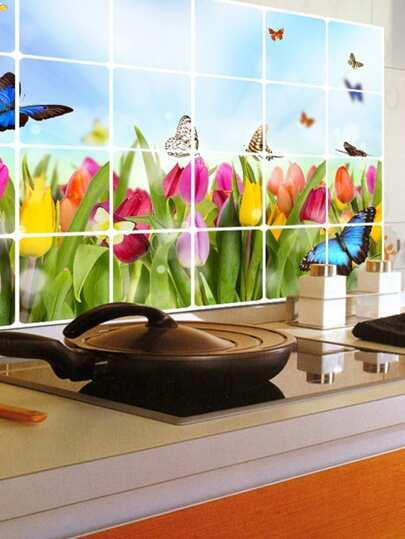 Oil Proof Floral   Butterfly Decor Wall StickerFor Women-romwe 00d462656