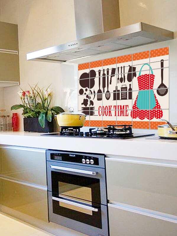 Autocollant Mural Anti Huile à Motif Doutils De Cuisine Shein