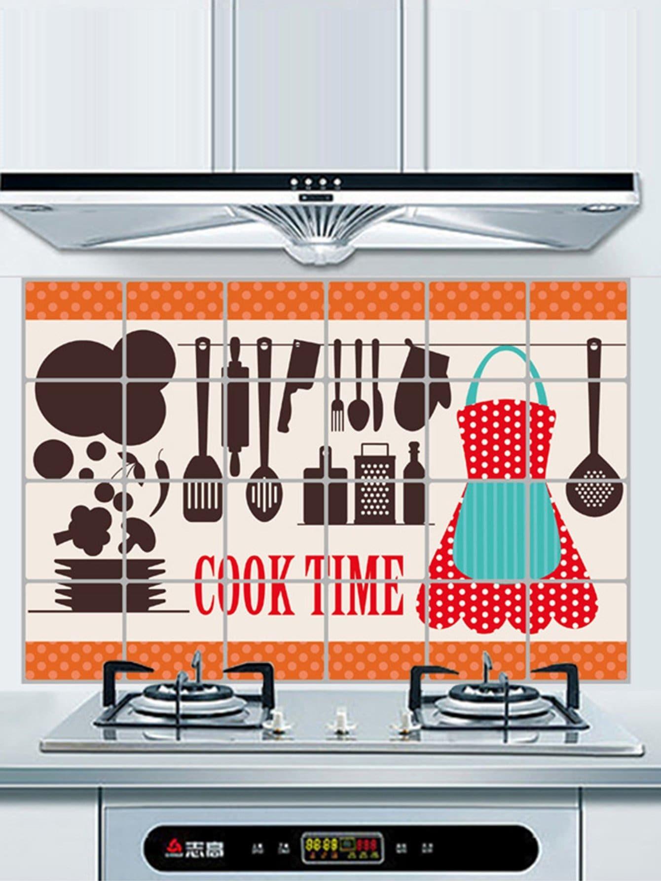 Pegatina de pared con patr n de herramientas de cocina a prueba de aceite spanish shein sheinside - Pegatinas para cocina ...