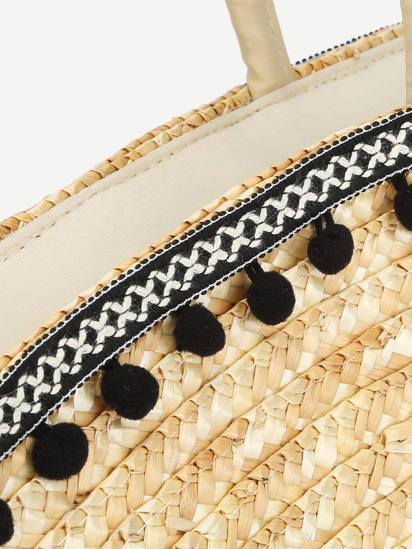 sac fourre tout en paille avec pompon shein. Black Bedroom Furniture Sets. Home Design Ideas
