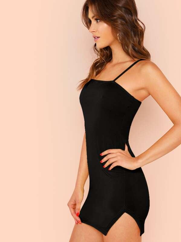 54cdc999d4e0 Form Fitting Slit Hem Cami Dress | SHEIN
