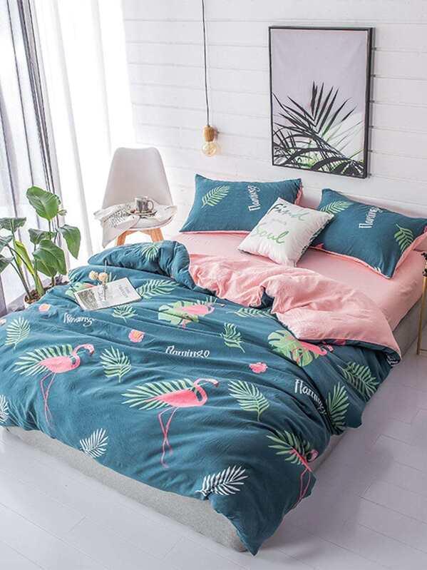 Bettwäsche Mit Flamingo Und Blattmuster Shein