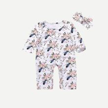 SHEIN | Toddler Girls Floral Print Jumpsuit With Headband | Goxip