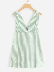 Cross Back Open Back Striped Dress