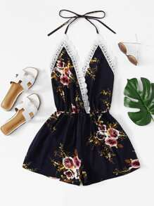 Lace Panel Open Back Floral Cami Romper