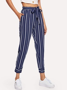 Self Tie Waist Striped Pants