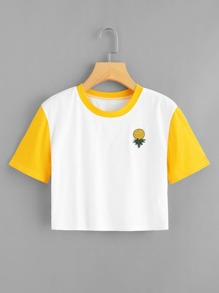 Pineapple Embroidery Crop Tee