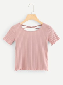 Cross Back Lettuce Trim Knit Tee