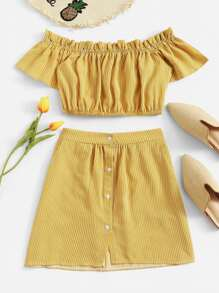 Off Shoulder Frill Trim Striped Top With Skirt