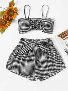 Knot Front Gingham Cami With Shorts