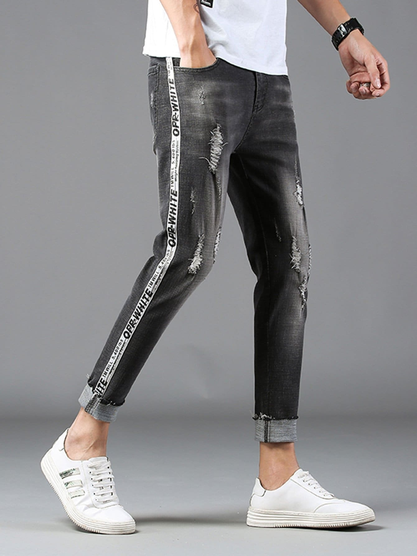 m nner zerrissene schmale jeans german shein sheinside. Black Bedroom Furniture Sets. Home Design Ideas