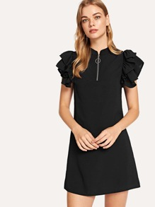 Butterfly Sleeve Zip Neck Dress