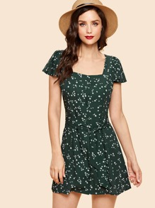 Floral Print Single Breasted Knot Dress