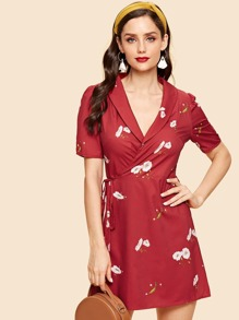 Floral Print Wrap Knot Dress