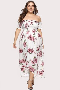 Plus Frill Trim Floral Print Dress