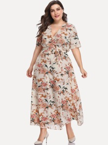 Plus All Over Florals Wrap Dress