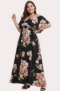Plus Off Shoulder Tiered Floral Dress