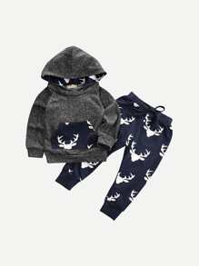 Toddler Boys Hooded Sweatshirt With Deer Print Pants