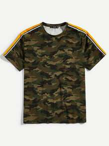 Men Tape Sleeve Camo T-shirt