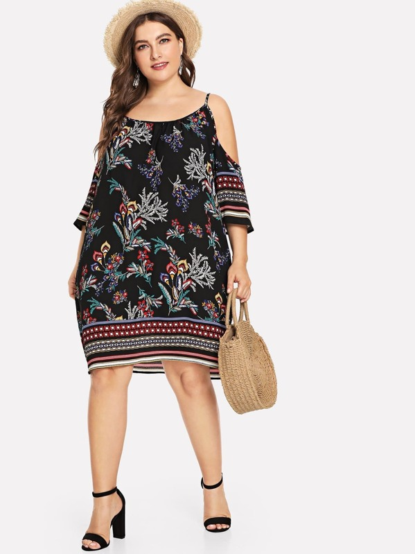 Plus Cold Shoulder Tropical Dress