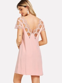 Sheer Embroidered Mesh Trim Solid Dress
