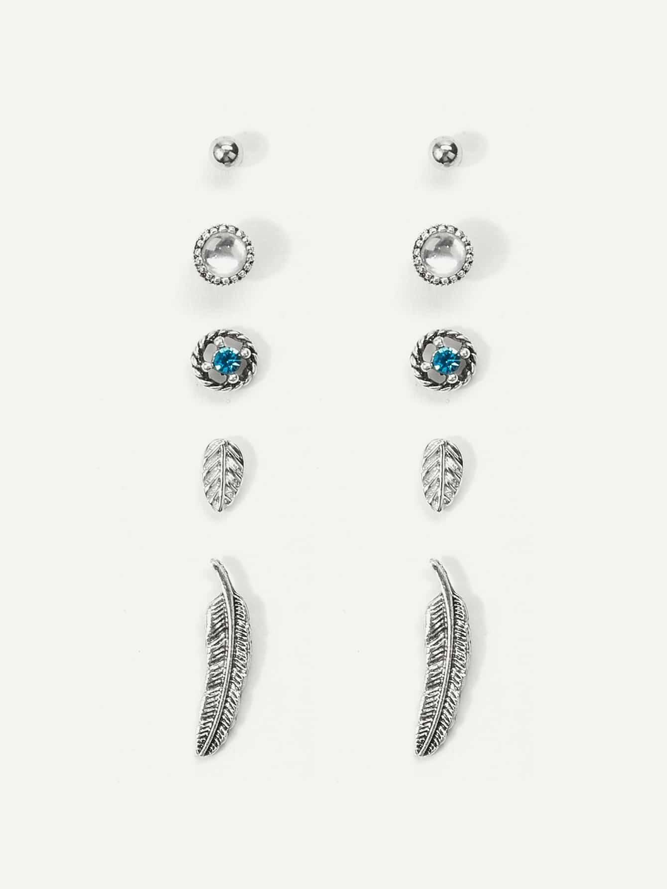 c11dae9090 Feather & Leaf Detail Stud Earrings 5pairs