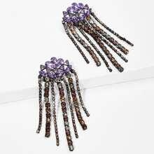 Color Block Rhinestone Tassel Drop Earrings