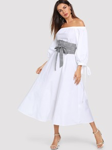 Lantern Sleeve Bardot Dress with Plaid Obi Belt