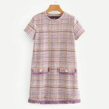 SHEIN   Fringe Trim Button Decor Tweed Tunic Dress   Goxip