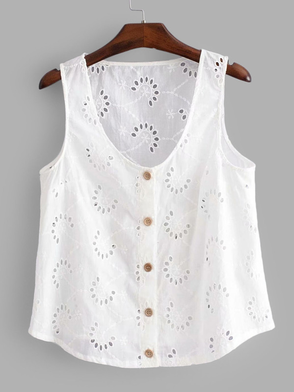 c313835e Eyelet Embroidered Button Front Top | SHEIN