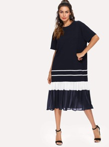 Ruffle Hem Chiffon Contrast Stripe Dress