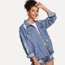INOpets.com Anything for Pets Parents & Their Pets Ripped Button Front Denim Jacket