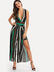 Striped Knot Top With Wide Leg Pants