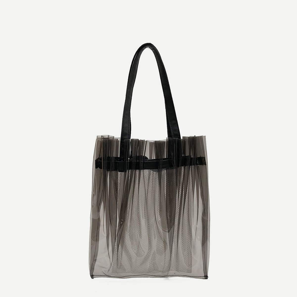 - Pleated PVC Tote Bag
