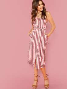 Button Through Self Belt Stripe Cami Dress