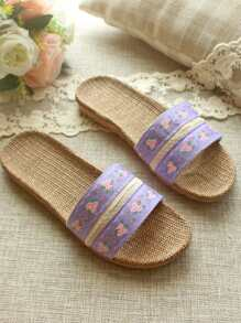 Floral Pattern Linen Slippers