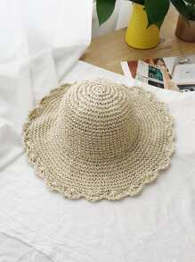 Ruffle Trim Straw Hat