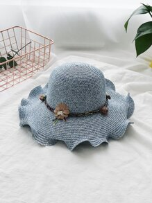 Flower Decorated Woven Hat