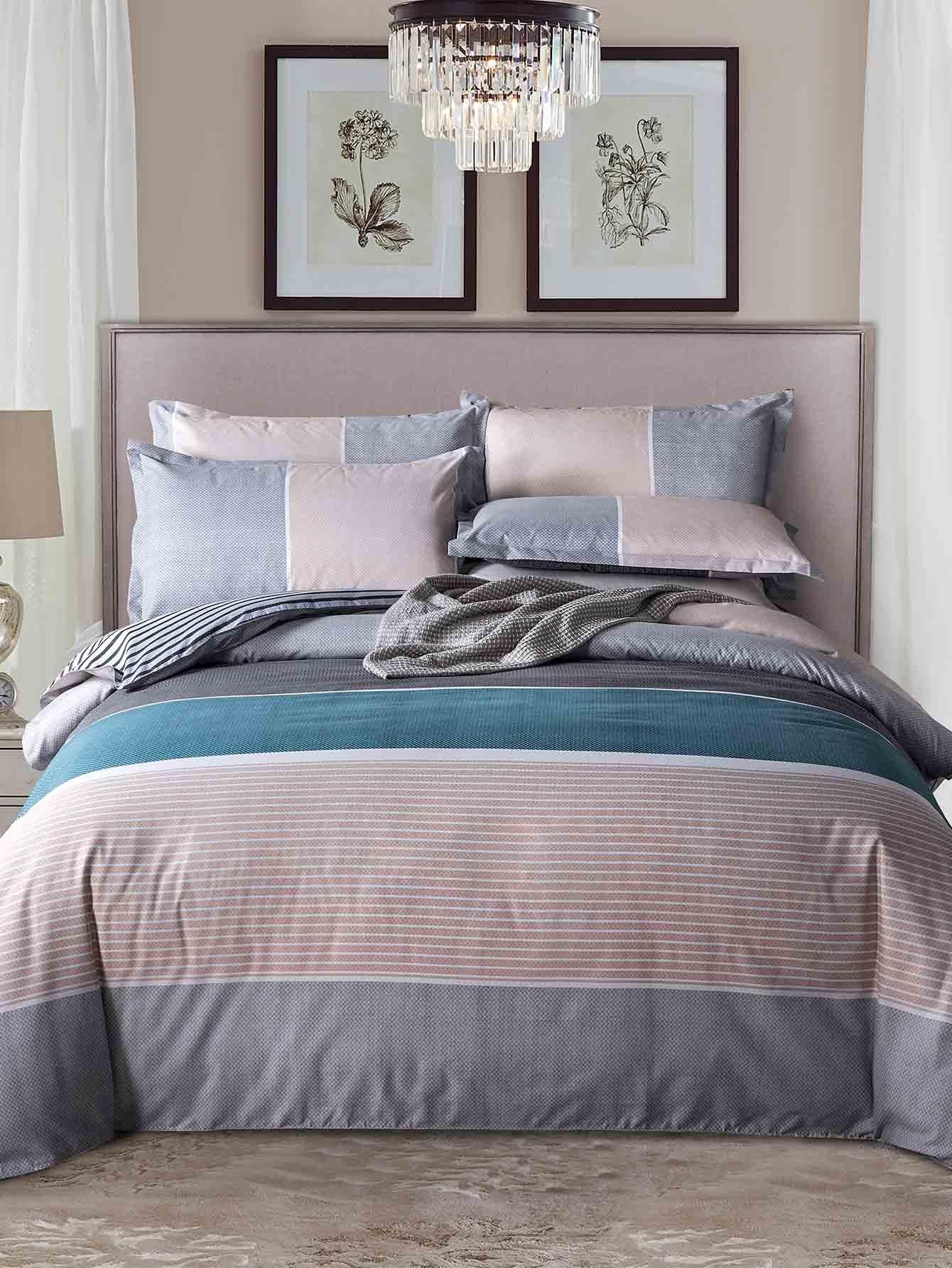 ensemble de draps imprim ray contrast french shein sheinside. Black Bedroom Furniture Sets. Home Design Ideas