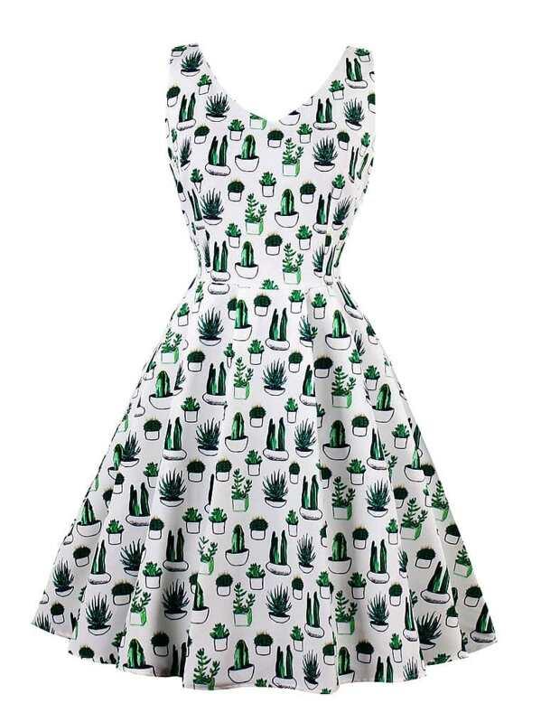 689efd79e698 V Neckline Cactus Print Dress