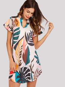 Plant Print Asymmetrical Hem Dress