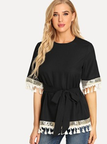 Contrast Sequin Tassel Detail Belted Top