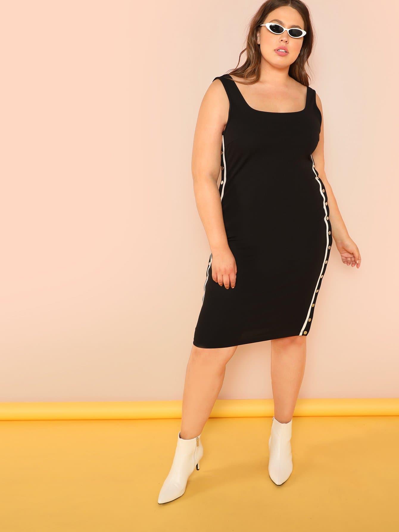 bd6586a39 فستان السهر الخط الزر الأسود فساتين كبيرة الحجم | شي إن