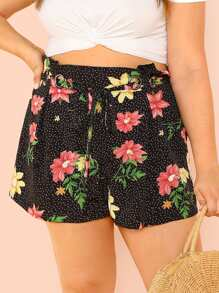 Plus Ring Detail Belted Polka Dot and Floral Shorts