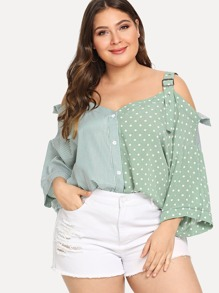 Plus Cold Shoulder Polka Dot Blouses