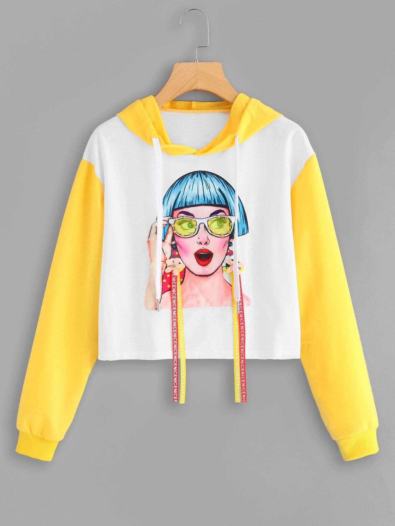 0fd898a6183 Figure Print Hooded Drawstring Sweatshirt EmmaCloth-Women Fast ...